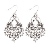 Vintage Bohemian Boho Carved Flower Retro Silver Teardrop Dangle Women Earrings