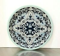 "Vintage DELFT Design Blue Holland Tin 10"" Plate Made in England"