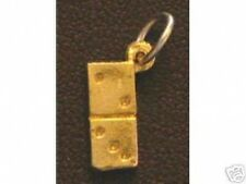 LOOK Gold Plated Domino Game Dice Pendant Charm