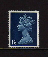 GREAT BRITAIN 1967 1/6d GREENISH BLUE OMITTED AND ONE 9.5mm PHOSPHOR BAND U28e.
