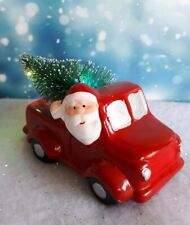 Ceramic Driving Home for Christmas Truck with Santa and LED tree .  Decoration.