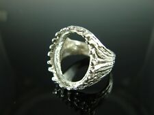 6072 Mens Ring Setting Sterling Silver Size 9, 20x15 Oval Cabochon Gemstone