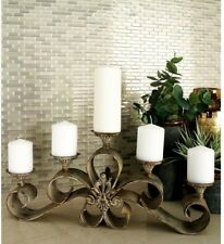 Rustic Vintage  Fleur-de-Lis Candelabra 5-Candle Pillar Holder Distressed Bronze