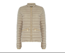 AUTHENTIC WOMENS BARBOUR LAPPER BAFFLE QUILTED COAT/JACKET-TAUPE SIZE 12 RRP£149