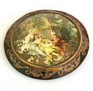 Antique French Tortoise Shell Celluloid Powder Compact Hand Painted Scene.