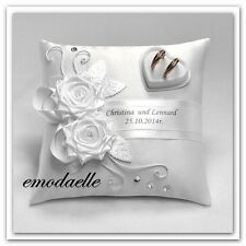 Personalized! wedding ring cushion pillow with rings holder box 30 color...