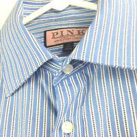 Thomas Pink Mens 15 / 38cm Slim Fit Blue Striped French Cuff L/S Dress Shirt