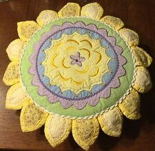RARE POTTERY BARN KIDS Embroidered Petals Round PILLOW FLOWER PLUSH