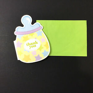 Thank You Cards Envelopes Baby Bottle Blank Inside Pastel Green Lot of 4