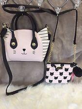 2 SET  Betsey Johnson Pink White Cat Satchel Crossbody Bag & Black Kitty Xbody