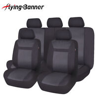 universal Polyester Car Seat Covers set Airbag Compatible black washable