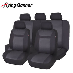 Universal Jacquard Car Seat Cover set Protector Airbag Compatible Black Washable