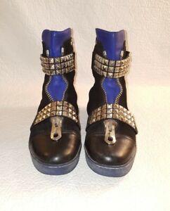 GIANMARCO LORENZI Black Leather and Suede Studded Boots EU 38.5/ US 7.5
