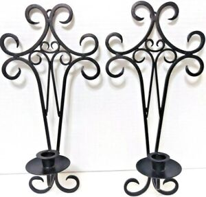 """Black Florentine Taper Candle Holders/Sconce 17"""" Tall x 7"""" Set Of 2"""