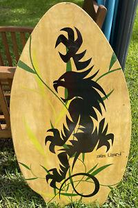 Vintage Skim Lizard Surf Boogie Board Wood Dragon Vines Swim