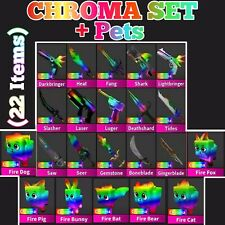 Murder Mystery 2 MM2 Godly Chroma Set + Pets  (22 Items) Rare - Quick Delivery