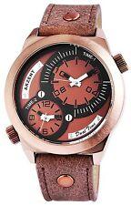 schwere Akzent XXL Leder Armbanduhr braun 2 Zeitzonen Herrenuhr analog
