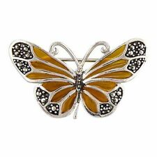 Sterling Silver Brooch Yellow epoxy and marcasite butterfly