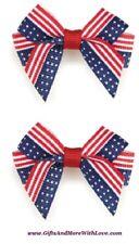 Aria NWT 1 LOT Red White Blue AMERICANA PATRIOTIC GROSGRAIN RIBBON HAIR ~ 2 bows