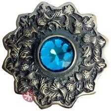 Scottish Kilt Fly Plaid Brooch Sky Blue Stone Antique Finish Celtic Pin Brooches