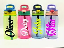 Personalised Custom Kids Children Water Bottle Flip Straw Boys Girls Motion Name