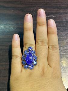 NATURAL TANZANITE 18X11 SAPPHIRE DIAMOND CUT STERLING SILVER 925 RING