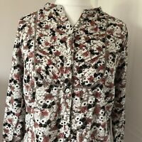Maine New England Floral Patterned 3/4 Sleeved Button Down Blouse Size 16