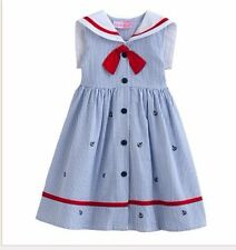 Sophie Rose Seersucker Sailor Nautical Sundress W/ Anchors Girls Clothes Size 6