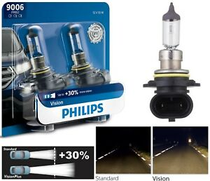 Philips VIsion 30% 9006 HB4 55W Two Bulbs Fog Light Replace Halogen Lamp OE Fit