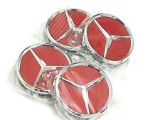 4x Mercedes Benz Alloy Wheel Centre Caps 75mm RED Badges carbon fiber  - Fits Al