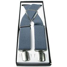 Mens Grey 40mm Elasticated Plain UK Braces Adjustable Suspender 4 Clip UK Seller