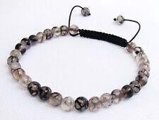 Delicate Men's Shamballa bracelet all 6mm DRAGON VEINS STONE beads