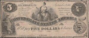 Confederate CSA T36 Five Dollar Note