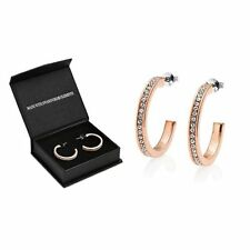 Butterfly Fastening Rose Gold Round Hoop Costume Earrings