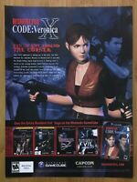 Resident Evil Code Veronica X Gamecube PS2 2003 Vintage Print Ad/Poster Official