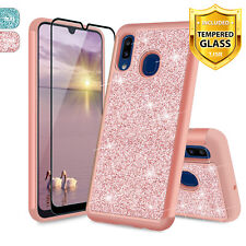 For Samsung Galaxy A10e/A20/A50 Glitter Bling Hybrid Phone Case +Tempered Glass