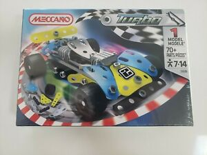 Meccano 3353B Blue and Yellow Turbo Racer Car - 70 pieces NEW SEALED