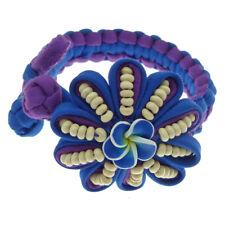 Bracelet femme artisanal ethnique tissu violet bleu roi Fleur fimo 17-18 cm