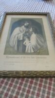 1911 Framed Remembrance of First Holy Communion Carved Wood Margaret Mitchell