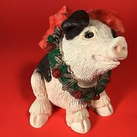 "Vintage Stone Critters Pig Figurine Signed SC-460 1992 Retired 4"" Christmas"