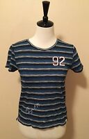 NWT Abercrombie & Fitch Women's Graphic Boy Tee, Blue, Small