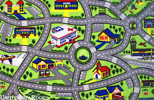 "7x10  Area Rug  Kid's  Play  Road Map Street Fun City  Driving Time New 6'8""x10'"