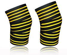 Kango Pro Knee Wraps w/ Velcro Pair Squats Supports Gym Training 4Yellow Line
