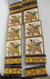 Victorian Ceramic Tiles Fireplace Tile Set Antique Old Vintage Nouveau Flowers
