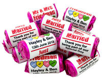 Personalised Love Heart Sweets Wedding Favours Just Married Mini Love Hearts