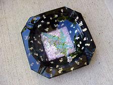 UNiQuE ViNTaGe Black w/PiNK & BLuE Floral Foil ArT GLaSs Pipe~Cigar Ashtray