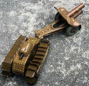 Rare Japanese pre-war Clockwork Tinplate Tank & Artillery Gun, 1930's E.T.C.