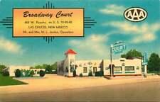 Linen Roadside Postcard Broadway Court Motel, Las Cruces, New Mexico