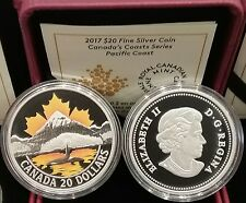2017 Maple Leaf Sunset Pacific Coast $20 1OZ PureSilver Proof Colour Coin Canada