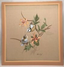 Vintage Bird Painting Birds Among Flowers Signed